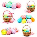 La colección de fotos perfecciona los huevos de Pascua hechos a mano coloridos Fotos de archivo libres de regalías