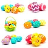 La colección de fotos perfecciona los huevos de Pascua hechos a mano coloridos Fotografía de archivo libre de regalías