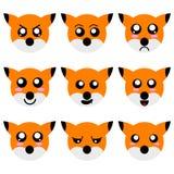 La colección de Fox de la historieta hace frente aislado en el fondo blanco Diversas emociones, expresiones illustation del vecto ilustración del vector