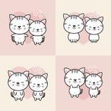 La colección de gatos lindos de la historieta de los pares cae en amor Ilustraci?n del vector ilustración del vector