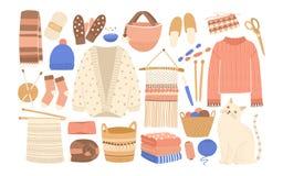 La colección de invierno hizo punto la ropa y las herramientas que hacían punto aisladas en el fondo blanco - puente de lana, reb Foto de archivo