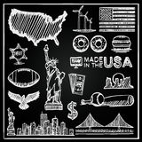 La colección de la pizarra de iconos el sistema del bosquejo de los Estados Unidos, América, los E.E.U.U. firma, Vector el ejempl ilustración del vector