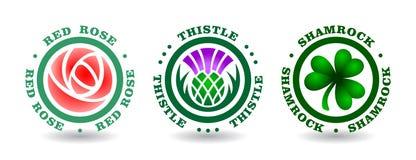 La colección de logotipos redondos con subió, cardo, trébol Símbolos nacionales de Inglaterra, Escocia, Irlanda Imagen de archivo