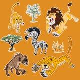 La colección de los animales y de los árboles de África fijó 01 Imagen de archivo libre de regalías