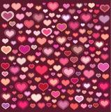 La colección de los corazones se mezcló en rosado anaranjado sobre Borgoña Fotos de archivo