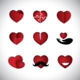 La colección de los iconos del corazón del estilo de la papiroflexia fijó - graphi del vector del concepto libre illustration