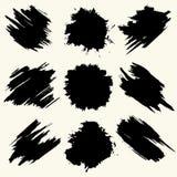 La colección de manchas con la pintura negra, movimientos, movimientos del cepillo, mancha y salpica, las líneas sucias, texturas libre illustration