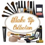 La colección de marrón sombrea artículos de los cosméticos Fotos de archivo libres de regalías