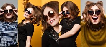 La colección de muchacha asombrosa del retrato fresco de la moda en ronda grande duplicó las gafas de sol Fotografía de archivo