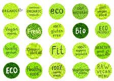 La colección de orgánico, natural, bio, granja, comida sana badges Foto de archivo