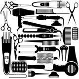 Símbolo relacionado de la peluquería. Sistema del vector de accesorios