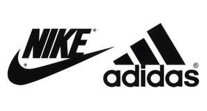 La colección de popular fabrica logotipos de los zapatos de los deportes ilustración del vector