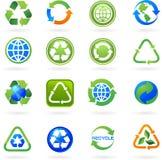 La colección de recicla iconos e insignias stock de ilustración