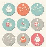 La colección de regalo de la Navidad redonda 9 y del Año Nuevo marca con etiqueta con los zorros Fotografía de archivo libre de regalías