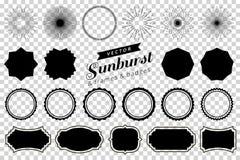 La colección de resplandor solar retro dibujado mano, estallando rayos diseña elementos Capítulos, insignias stock de ilustración