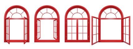 La colección de rojo arqueó las ventanas aisladas en blanco Foto de archivo libre de regalías