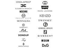 La colección de ropa italiana contiene logotipos ilustración del vector