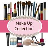 La colección de rosa sombrea artículos de los cosméticos Imágenes de archivo libres de regalías