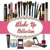 La colección de rosa sombrea artículos de los cosméticos Fotografía de archivo libre de regalías