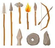 La colección de símbolos de la Edad de Piedra, las herramientas y el arma del hombre prehistórico vector el ejemplo en un fondo b ilustración del vector
