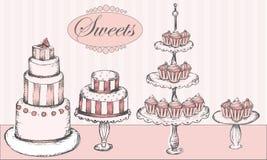 La colección de tortas, de magdalenas y de torta hace estallar Foto de archivo libre de regalías