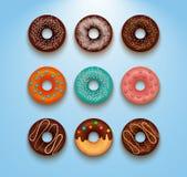 La colección de vector coloreado esmaltado de los anillos de espuma con la formación de hielo asperja Imagen de archivo