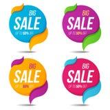 La colección de venta etiqueta insignias de las etiquetas engomadas de las banderas de los precios ilustración del vector