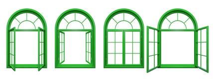 La colección de verde arqueó las ventanas aisladas en blanco Foto de archivo