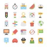La colección de viaje y los días de fiesta colorearon iconos stock de ilustración