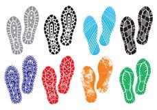 La colección de zapatos de los lenguados de una impresión Imágenes de archivo libres de regalías