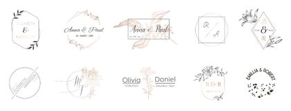La colección del monograma de la boda, Minimalistic moderno y las plantillas florales para las tarjetas de la invitación, ahorran stock de ilustración