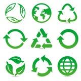 La colección del vector con recicla muestras y símbolos Imagen de archivo
