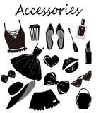 La colección del vector, sistema, con los accesorios de las muchachas de la moda, los artículos bosqueja, clip art monocromático  ilustración del vector