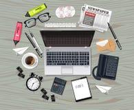La colección determinada del negocio del ordenador portátil y de los materiales de oficina Vector realista Los vidrios, bolso, ar stock de ilustración