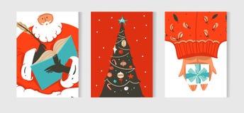 La colección dibujada mano de las tarjetas de la historieta del tiempo de la Feliz Navidad de la diversión del extracto del vecto Imagenes de archivo