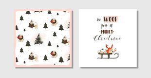 La colección dibujada mano de las tarjetas de la historieta del tiempo de la Feliz Navidad de la diversión del extracto del vecto Foto de archivo