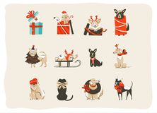 La colección dibujada mano de los ejemplos de los iconos de la historieta del tiempo de la Feliz Navidad de la diversión del extr Foto de archivo