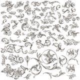 La colección enorme de mano del vector del vintage dibujada remolina libre illustration