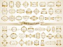 La colección grande de blanco oro-enmarcó etiquetas en estilo del vintage Imagen de archivo