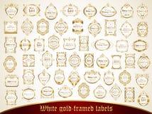 La colección grande de blanco oro-enmarcó etiquetas en estilo del vintage Imagenes de archivo