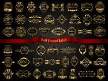 La colección grande de oscuridad oro-enmarcó etiquetas en estilo del vintage Fotos de archivo libres de regalías