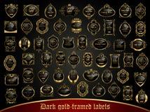 La colección grande de oscuridad oro-enmarcó etiquetas en estilo del vintage Fotos de archivo