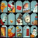 La colección marca la Navidad con etiqueta ilustración del vector