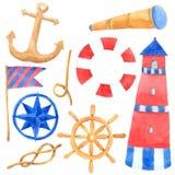 La colección náutica marina de la acuarela del viaje en el fondo blanco, mano dibujada para los niños, tarjeta de felicitación, c ilustración del vector