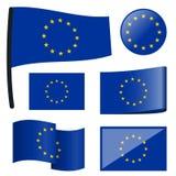 la colección señala la unión por medio de una bandera europea stock de ilustración