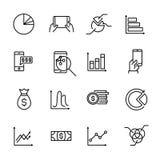 La colección simple de presupuesto personal relacionó la línea iconos ilustración del vector