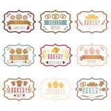 La colección de logotipo retro de la panadería del vintage etiqueta el pan, pretze Foto de archivo