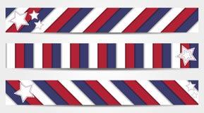 La colección de 3 rayó banderas en colores oficiales de los E.E.U.U. Foto de archivo libre de regalías
