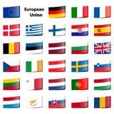 la colección señala la unión por medio de una bandera europea Fotografía de archivo libre de regalías