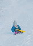 La colina de la nieve se prepara para salir del niño Foto de archivo